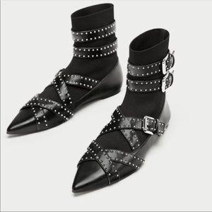 🆕 Zara Black Pointed Toe Studded Sock Boots!